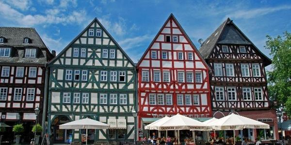 Auf dem Grünberger Marktplatz