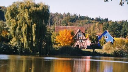 Blick über den Klosterweiher auf das Odenwälder Freilandmuseum