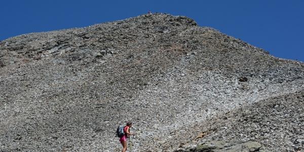 Ein riesiger Geröllhang zieht hinauf zur Geltalspitze, einem weiteren möglichen Dreitausender am Weg.