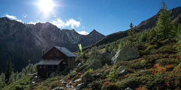 """Blick von der Salzkofelhütte in den Talschluss des """"Mäuerle""""."""