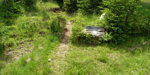 Ein selbstgemaltes Wegschild weist zur Brendlhütte. Hier münden wir auch in den Steig ein.
