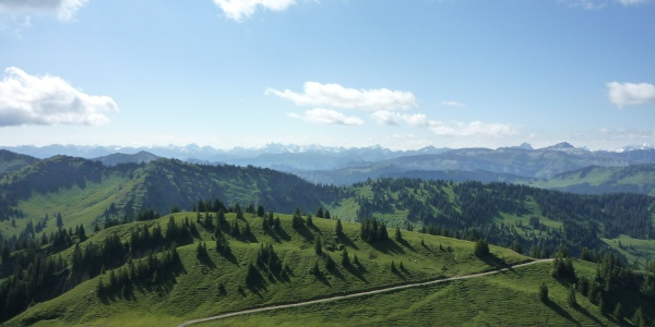 Staufner Haus; Zustieg von der Alpe Scheidwang Aussicht Ri. Osten