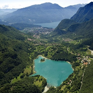 Lake Tenno (Lake Garda in the background)
