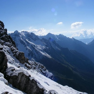 View from Seescharte, on the right the peak Silberspitze