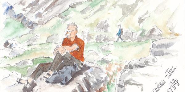 Klaus-Dieter Gehring (geb. 1958), Naumburg im Landkreis Kassel: Wanderleiter Andreas Skorka auf Felsen beim Refugio Góriz, Aquarell