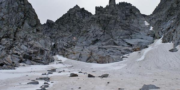 Blick zum Einstieg in den Klettersteig