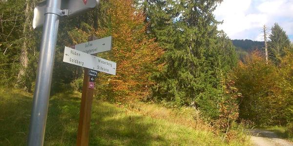 Abzweigung Nähe Gurina nach Rüben und Goldberg