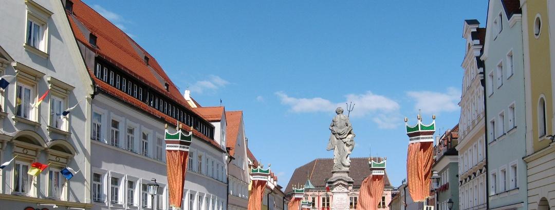 Der Neptunbrunnen in der Kaufbeurer Altstadt.