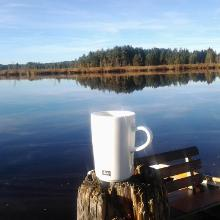 Der erste Kaffee auf der Tour am Elbsee