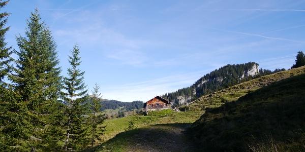 Die idyllisch gelegene Toniskopf-Alpe vor der Beslerwand.