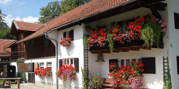 Blumengeschmückter Bauernhof