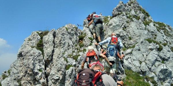 Leichte Kletterei am Wildkammgrat