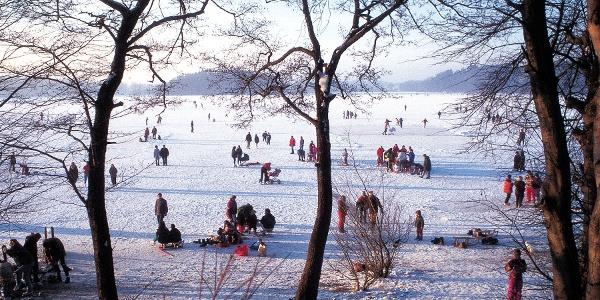 buntes Treiben auf dem gefrorenen Abtsee