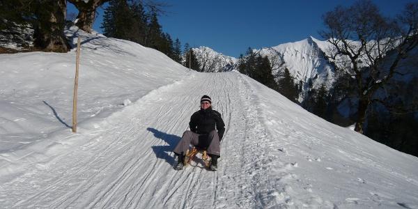 Rodeln von der Schwarzenberghütte.