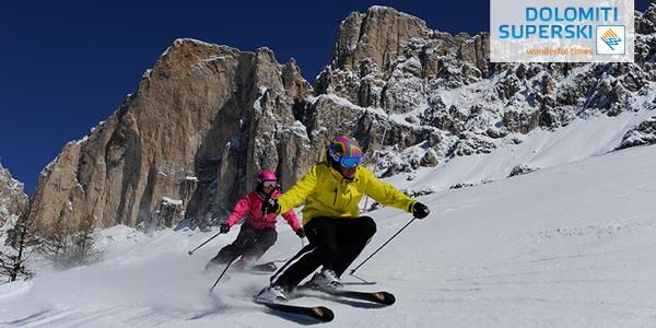 Divertimento sulle piste di Dolomiti Superski