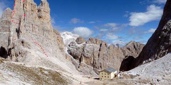 Routenverlauf der Delagokante, Stabler- und Winklerturm, sowie die Gartl Hütte