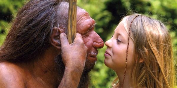 Neanderthaler und Mädchen