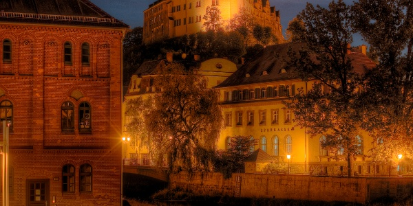 Das Obere Schloss Greiz bei Nacht
