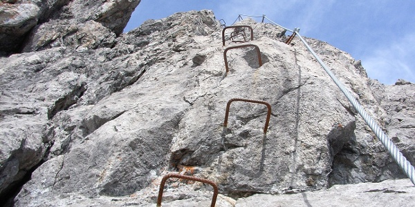 Im Klettersteig am Saula-Kopf.