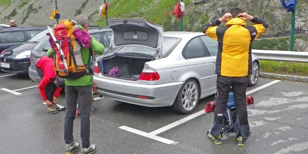 Ausgangspunkt der Tour. Parkplatz Kölnbreinsperre