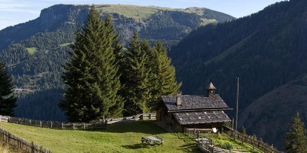 Ausblick von der Schlernbödelehütte über die Puflatschalm zur Seiser Alm