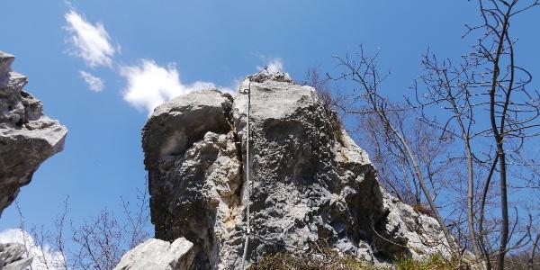 Die Schlüsselstelle des Klettersteigs
