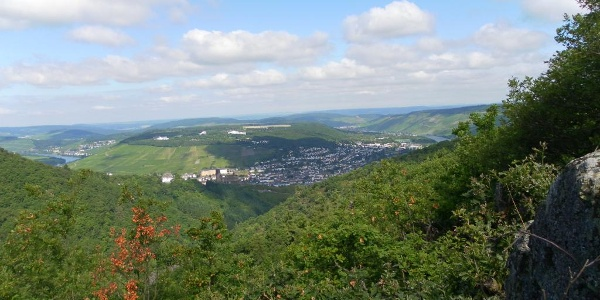 "Ausblick vom Aussichtspunkt ""Bresgenruh"" am ""Bernkasteler Bärensteig"""