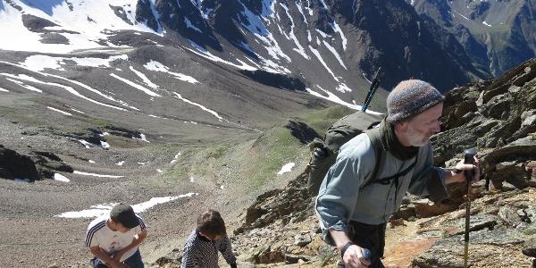 Aufstieg von der Hütte zum Spaiktsee