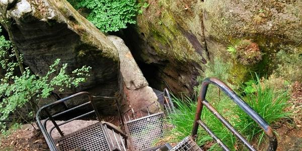 Abstieg von den Schrammsteinen