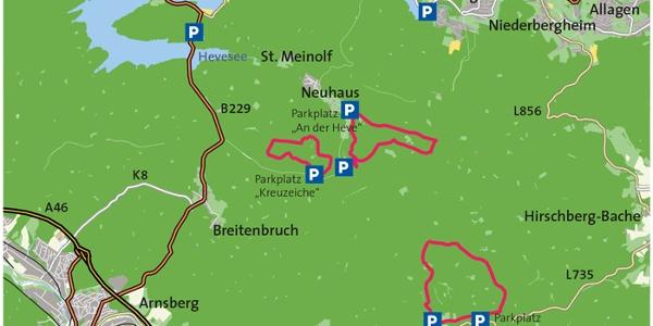 Karte Arnsberger Wald