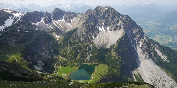 "View from the mountain ""Entschenkopf"" onto lake ""Unterer Gaisalpsee"""