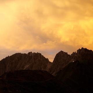 Sonnenuntergang über der Kalkwand 2564m