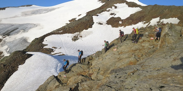 Der letzte Abschnitt des markierten Weges, dann geht's auf dem Grüblferner weiter. Rechts hinten der Gipfel.