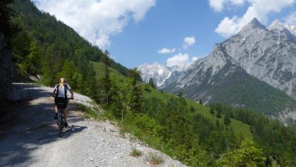 Hoch über dem Vomper Loch führt die Forststraße mit Blick auf die Karwendelberge zur Ganalm.
