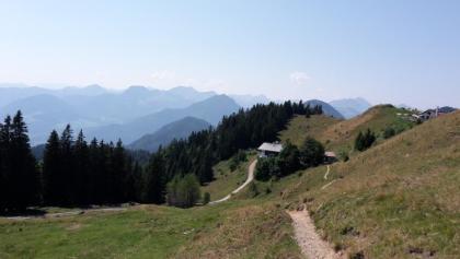 Spitzsteinhaus (links) und Altkaseralm (rechts)