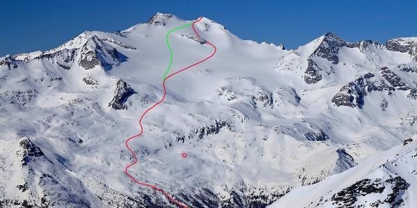 Die Aufstiegsroute ab der Waldgrenze. Der Felskopf am Hochalmkees wird rechts (rot) od. links (grün) umgangen. Roter Kreis: Villacher Hütte.