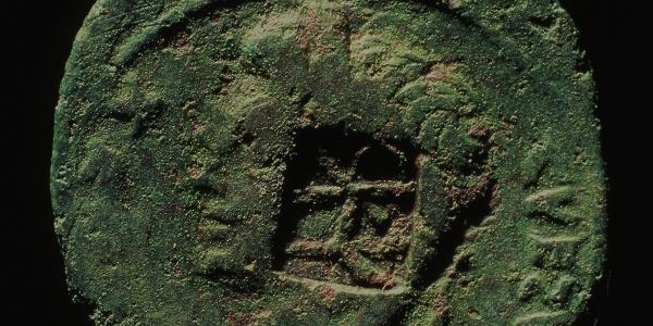Römische Münze mit dem Gegenstempel des Varus