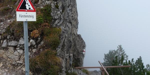 Drehkreuz am nördlichen Ende des Fürstensteiges