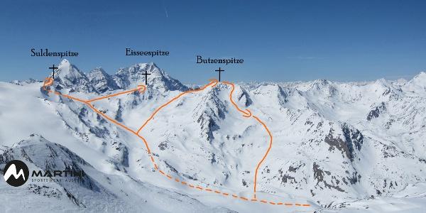 Suldenspitze und Butzenspitze Topo Skitour