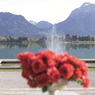 Blick vom Festspielhaus Füssen über den Forggensee auf Schloss Neuschwanstein