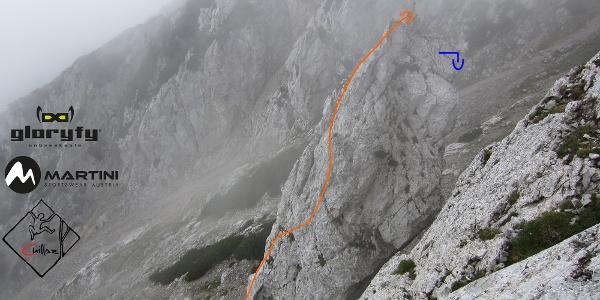 Freilassinger Turm am Hochstaufen - Übersichtsfoto mit Route