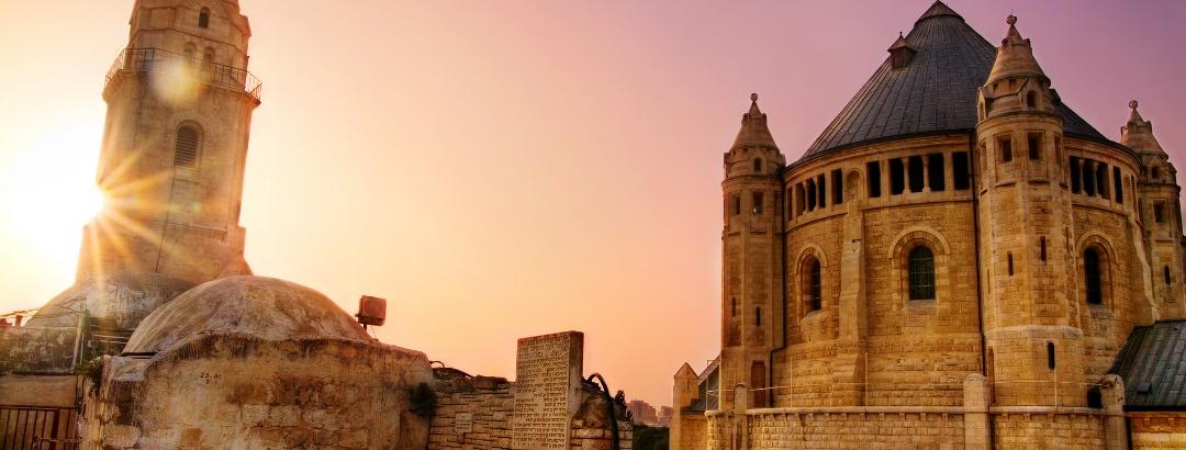 Die Dormitio-Abtei (Benediktinerabtei) auf dem Berg Zion in Jerusalem