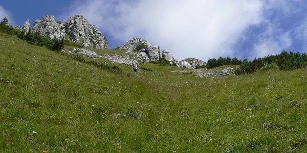 Nella parte alta del sentiero che sale al monte Chiadin