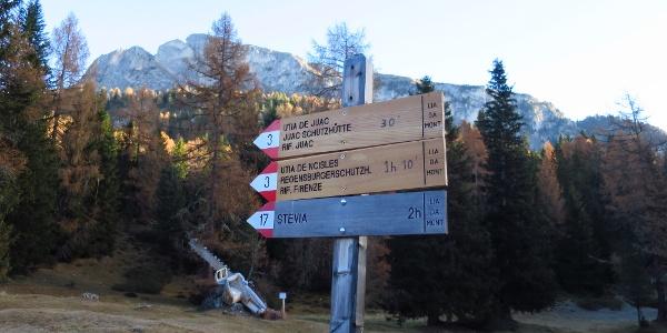 Gut ausgeschildert ist der Weg zum Refugio Firenze oder auch Regensburgerhütte genannt.