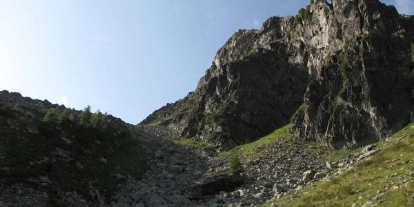 Aufstieg links unterm Moserspitz