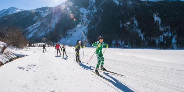 Cross country skiers on Tetter Moor skating run