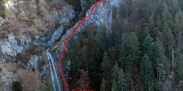 Wegverlauf Klettersteig