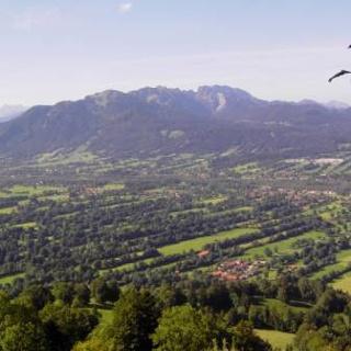 Aussicht von der Sonntraten ins Isartal über die denkmalgeschützte Heckenlandschaft, mit Blick zum Brauneck und Karwendel