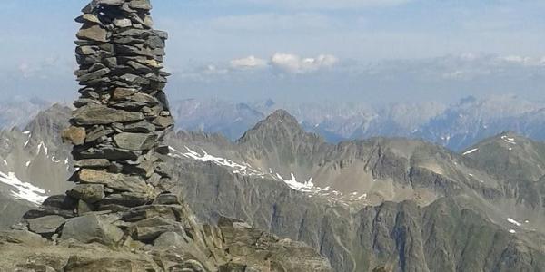 Gipfelpanorama vom Fundusfeiler (Aufstieg von der Frischmannhütte)