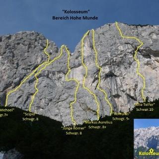 Übersicht der Routen im Kolloseum